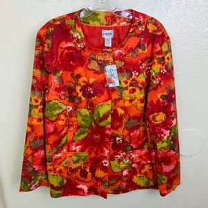 Chico's Blooming Blossom Victory Red Jacket